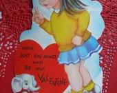 Valentine Card Girl Elephant Blue Skirt Yellow Sweater Saddle Shoes Free Shipping
