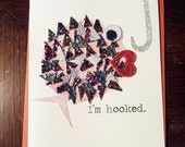 """Handmade Card - """"i'm hooked"""" fish"""