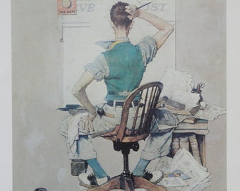 Norman Rockwell Favorite Poster, Vintage Poster Art, The Artist, Rockwell at His Easel, Antique Art, Printed in 1977