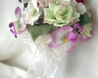 Silk Flowers Bridal Bouquet Special Price Destination Wedding Flowers ready ship brides maid cheap bokay Pink Green Budget accessories