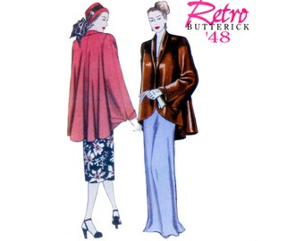 1940s Swing Coat Pattern Bust 38 to 46 Uncut Butterick B5144 Evening Flared Shawl Collar Jacket Hi Low Reissue Womens Vintage Sewing Pattern