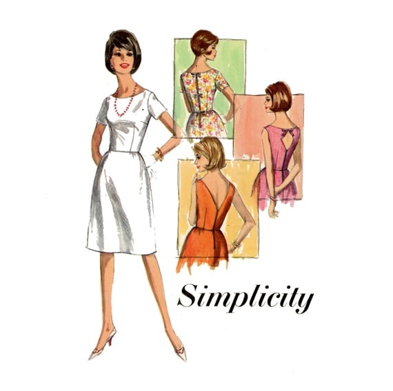 1960s Dress Pattern Simplicity 6001 Misses Day or Evening Summer Party Dress Womens Vintage Sewing Pattern Bust 36