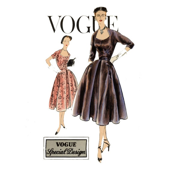 1950s Evening Dress Vintage Sewing Pattern Vogue S 4260 Full Skirt Cocktail Dress Shaped Neckline Bust 34 Womens Vintage Sewing Pattern