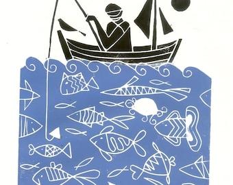 Fisherman Linocut, Fathers Day Gift -  Fishes & Blue Sea - Blue Art Linoprint - Printmaking Hand Pulled Print Signed Giuliana Lazzerini.