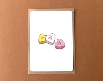 Greeting card with kraft envelope - Conversation candy - I love you