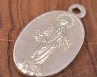 """Virgin Mother Mary Vintage Jewelry Sterling Religious Medal on 18"""" sterling silver rolo chain"""