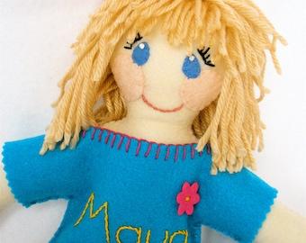 Personalized Plush Doll, Bespoke Felt and Fabric Stuffed Doll, Custom Designed 15 inch Soft Doll, Just Like Me Doll