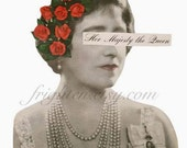 Queen Elizabeth Art, Paper Collage Print, Retro Art, Roses in Hair, Royal Art, Black White and Red