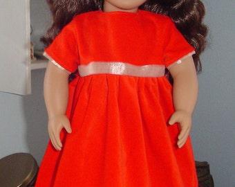 Red velveteen doll dress