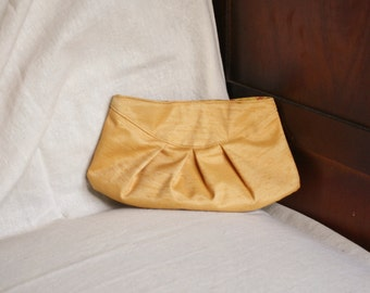 SALE Mini pleated clutch purse made from upcycled gold coloured fabric, magnetic snap closure, autumn fashion