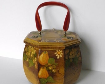Vintage Wooden Purse, Octagon Wooden Purse, Lucite Handle, Hand Painted Wood Purse