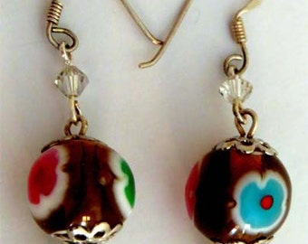 Flower earrings with swarovsky crystals, valentines day, for mum, under USD 30, handmade, OOAK
