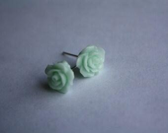 Mint  Rose Earrings, Stud Earrings, mint flower earrings, mint stud earrings, Flower post earrings, Rose earrings, bridesmaid gift