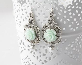 Mint Bridesmaid earrings Mint rose earrings rose jewelry,  mint and pearl, shabby chic earrings, flower earrings, mint jewelry
