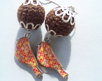 Crochet Bead Earrings, Crochet Earrings, Bird Earrings, Hippie, Boho, Summer, Bird Charms, Enamel Birds, Brown Bead Earrings