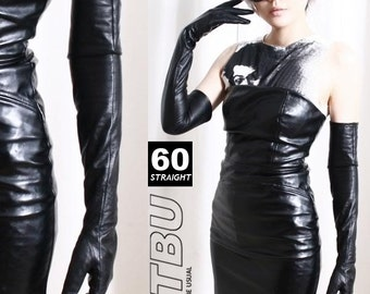 60cm Full Sleeve Under Arm Genuine Leather Runway Fashion Noir Mourn Opera Glove