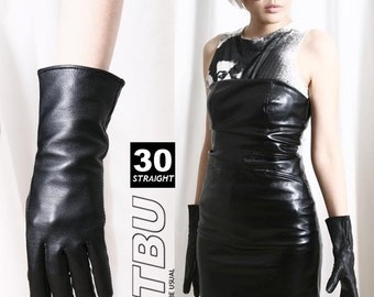 28cm Mid-forearm Genuine Leather Runway Fashion Formal Party Cosplay Lady Gloves