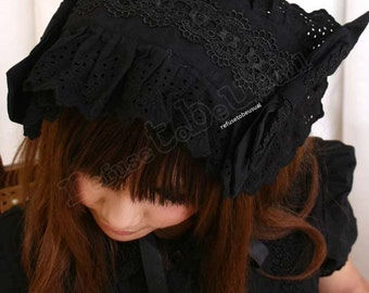 SALE 12.00 Gothic Lolita Baby Cosplay Lace Frill Bonnet Headress Black