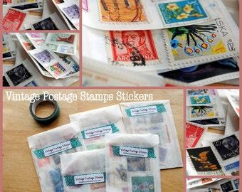 12 Vintage World Postage Stamp stickers/ seals