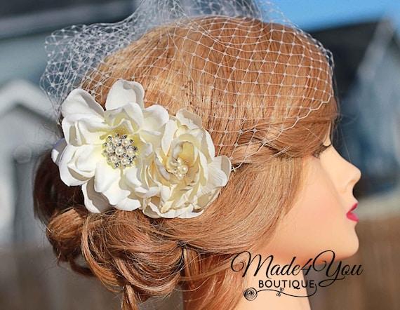 Cream Flower Birdcage Veil- IvoryWedding Headpiece- Wedding Veil