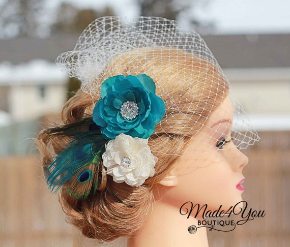Peacock Wedding Ideas Etsy: Items Similar To Burlap Peacock Wedding Fascinator