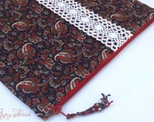 Navy, Red, and White Paisley iPad Cover with Pocket, Vintage Trim, Padded, Zipper Case - GypsyThread