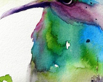 Large Archival Print of Hummingbird Art, 12 x 16 Watercolor Art Print