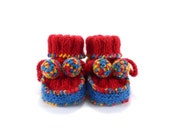 Baby Booties - Hand Knitted - Red and Blue, 6 - 12 months