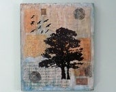 blue mixed media collage, inspirational, tree, birds, vintage papers