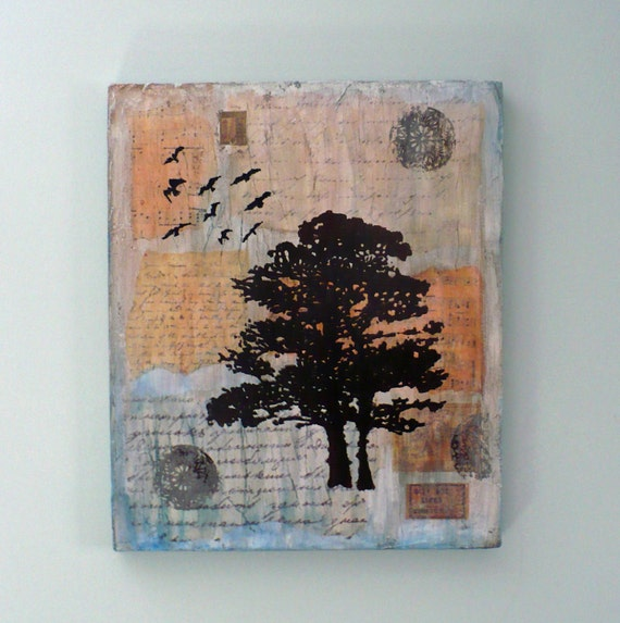 Tree Wall Art, Blue, Inspirational, Birds, Vintage Papers