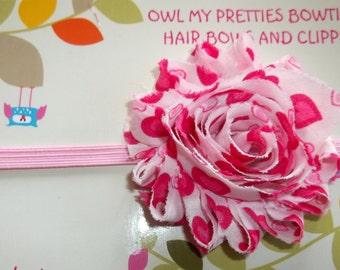 HOT PINK VALENTINE Valentine's Day Shabby Frayed Chiffon Flower Headband Babies Girls Toddlers