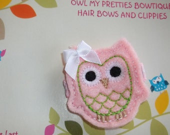 Light Pink and Apple Green Felt OWL Spring Summer Hair Clippie Clip Babies Toddlers Girls