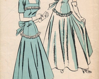 Bust 32-1940's Misses' Evening Dress Hollywood Pattern 365 Size 14