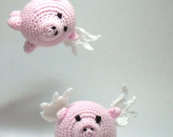 Crochet Flying Pig Amigurumi, Pig with Wings, Desk Toy, Toy Pig, Pink Pig, Crochet Pig with Wings, When Pigs Fly, Pigs Might Fly