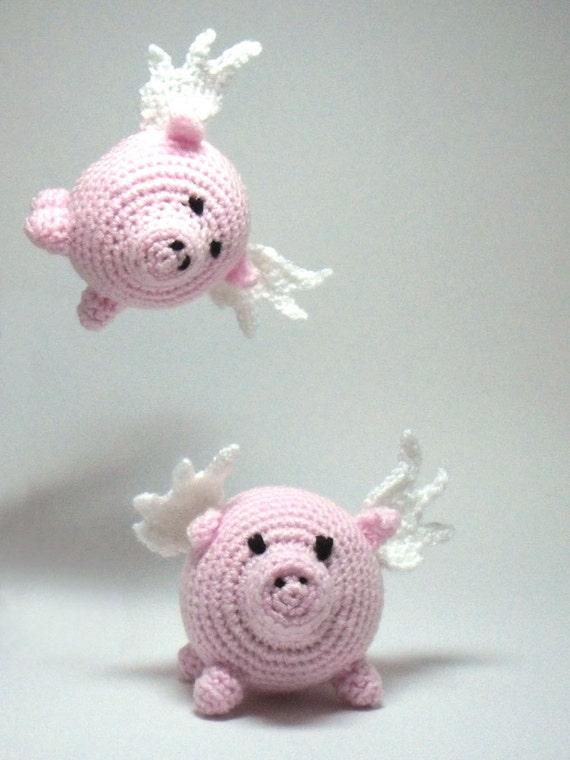 Flying Angel Pig Amigurumi Crochet Pattern : Crochet Flying Pig Amigurumi Pig with Wings Desk Toy Toy