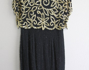 gorgeous black and gold vintage beaded dress-DEADSTOCK with 350 price tag- SALE