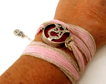 Bohemian Fuschia Silk Wrap Bracelet - Yoga Inspired Silk Wrap - Silver and Pink Wrap Bracelet