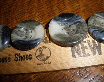 """Cool Vintage Coat Buttons -Black Olive Ivory Swirls 1"""" or 7/8"""" (40L 25MM 36L 22mm) early plastic Horn Effect Retro bulk suit sewing 4 hole"""