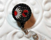 Retractable Badge Holder Bottlecap ID Badge Reel Teacher Lanyard Black And Red Daisy With Ladybug