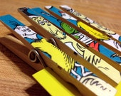 Dr. Seuss Baby Shower or Birthday favor, gift, decoration - 50 Clothespin Clips for favors, Cat in the Hat baby shower game