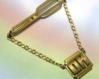 Retro Antique Old Vintage Men's Tie Clip, mens tie bar, tie clip, tie clasp, gold, SWANK, old tie clip, OM, meditation mantra, fathers day