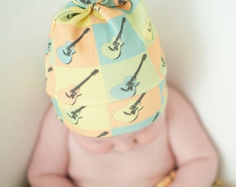 Organic Cotton Guitar Knotty Hat Size 0-6 or 6-12 months  gift for newborn Baby Gift Music Photo Prop