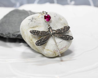 Dragonfly Necklace Fuchsia Pink Crystal Rhinestone Necklace Large Dragonfly Necklace Wedding Anniversary Gift Idea Woman Necklace Plus Size