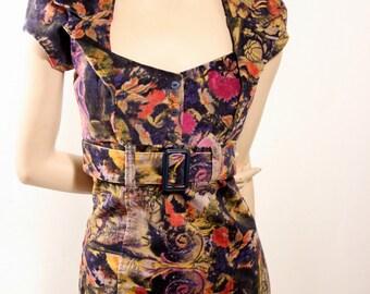 ON SALE Pinup dress in printed stretch velvet, purple,schocking pink, mustard,retro, MaD MeN,belted dress, sweetheart neckline, BRIDESMAID