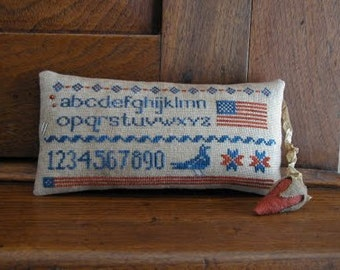 Star Spangled Pinkeep: counted cross stitch pattern Threadwork Primitives Independence Day 4th of July embroidery