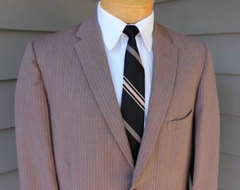 vintage 50's - 60's Men's narrow lapel suit coat. 'Style Mart' Taupe herringbone. Approx. US Size 38 Long