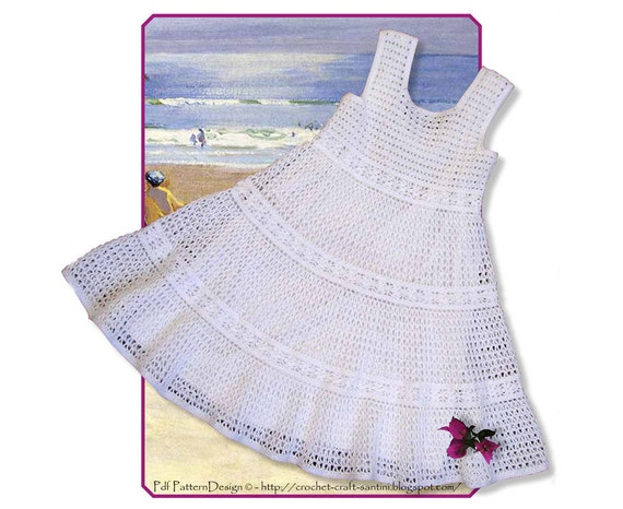 White Lace Crochet Dress for Toddler Girls - Instant Download Pdf