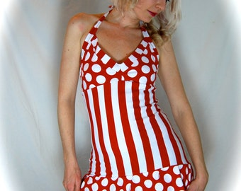 Red and White Stripe Summer Circus Sailor Halter Ruffle DRESS
