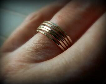 Set of 5 14kt Gold Filled Stacker Rings