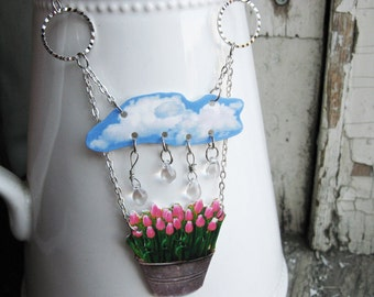 Rain Drop Floral Pink Tulips Flower Statement Necklace Gift for Gardener Garden Spring Summer Trend for Her Kitsch Quirky Jewellery